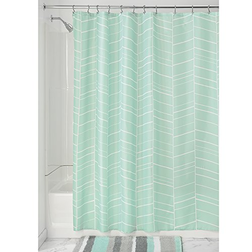 Price comparison product image iDesign Kylie Shower Curtain,  Bathroom Curtains with Geometric Pattern Made of Polyester,  Mint