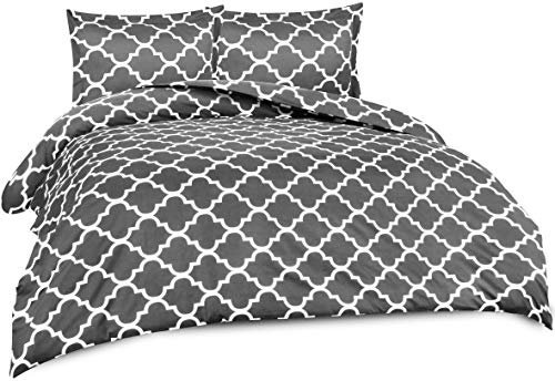 Utopia Bedding Printed Duvet Cover Set (Queen, Grey) - Hotel Quality Luxurious Brushed Velvety Microfiber - Soft and Durable - Wrinkle, Fade and Stain Resistant - Machine Washable