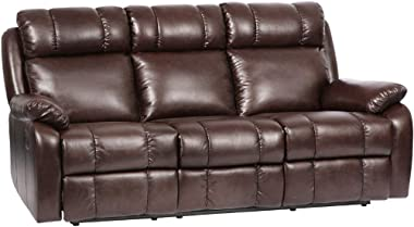 Recliner Sofa PU Leather Sofa Recliner Couch Manual Reclining Sofa Recliner Chair, Love Seat,and Sofa (3 Seater) for Living R