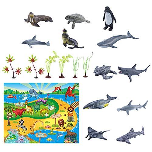 jingjing Juego de 12 alfombrillas de juego con diseño de animales marinos, diseño de dinosaurios (G)
