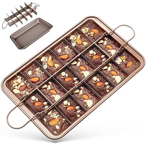 Brownie Backform, GIKERSY kuchenform Brownie mit Trennwänden und Hebeboden eckiges Kuchenblech antihaftbeschichtete haltbarer Kohlenstoffstahl backformen Set (31*20*4.9cm)