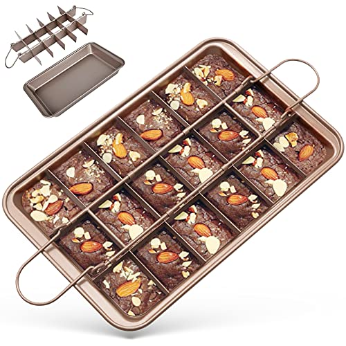 Moldes para Brownies, GIKERSY Molde para Tartas con separadores de 18 bandejas, Molde Pastel Pan Hornear Molde Herramienta para hornear Cocina Herramienta de la torta Accesorios de cocina