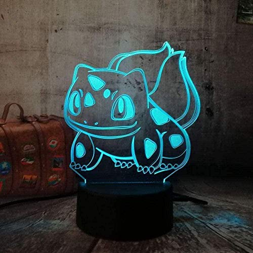 GEZHF Pokemon Bulbasaur 3D Night Light Table Lamp7 Color Changing LED Touch USB Table Gift Children's Toys Decor Decorations Christmas Valentine's Day Gift Birthday Present