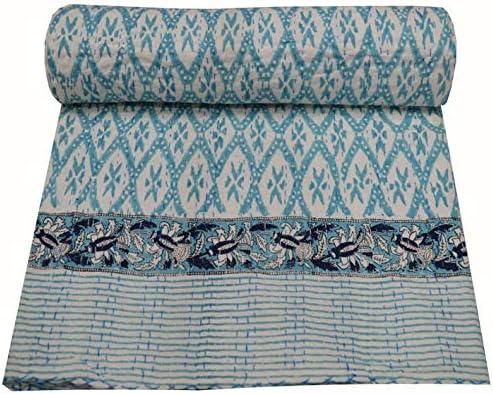 V Vedant Designs Indian Hand Block Kantha Quilt Ikat Print Throw Cotton Bedding Blanket Single product image
