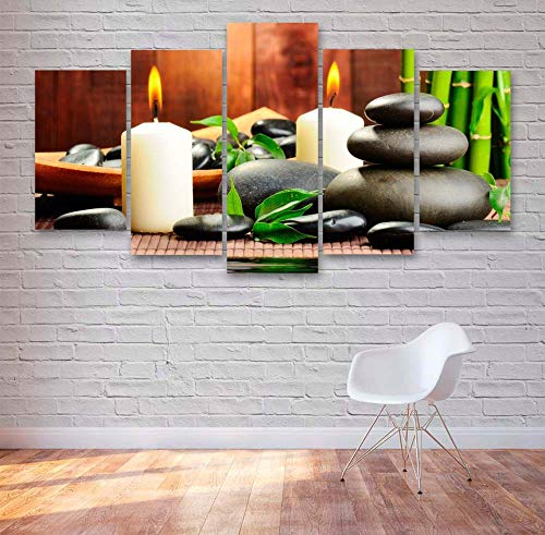 GSDFSD Spa Stones And Candles Modern 5 Piece Hand Painted,Prints On Canvas The Landscape Pictures Oil For Home Modern Decoration Print Decor For Living Room (Frameless)