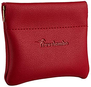 Travelambo Leather Squeeze Coin Purse Pouch Change Holder For Men & Women  Access Red Classic