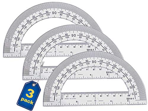 1InTheOffice Clear 180 Degree Protractor, Plastic, 6 Inch Protractor Ruler 6