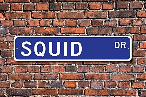 Tamengi Squid, Squid Gift, Squid Sign, Squid Decor, Squid Lover, Cephalopod, Ocean Dweller, Squid Expert, Custom Street Sign, Quality Metal Sign,4x18(714,Made in America