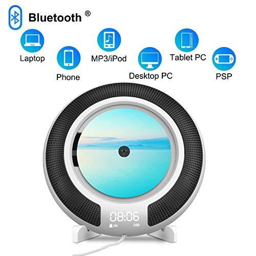 Tragbarer CD Player, CD-Player Wandmontage mit Bluetooth, FM-Radio, 3,5mm Kopfhöreranschluss, Power an oder aus mit Zugschalter