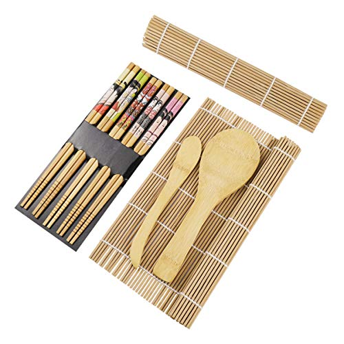 BESTONZON 15 Stück Sushi-Set aus Bambus mit 2 Laufbändern 5 Paar Reisestäbchen Paddle Rice Spender