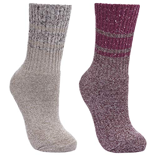 Trespass Hadley, Grape Wine/Oatmeal, 3/6, Socks (2 Pairs) for Women, UK...