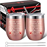 Boao 2 Pack Dance Teacher Appreciation Gift for Women, Customized End of Year Birthday Dance Teacher Gift for Dance Instructor, 12 oz Wine Tumbler Glass with Lids Straws and Brushes (Rose Gold)