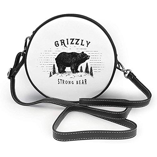 TURFED PU Sac à bandoulière rond Ours Fort Grizzly Bear dans la forêt Vintage Grunge Look Life in The Mountains Theme Cross Body Bag