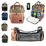 NOMAD BABIES, Diaper Bag Backpack, Baby Diaper Bag with Changing Station, Portable Bassinet with Changing Pad & Multifunctional Pockets, Diaper Bag Organizer for Baby Travel Essentials (Pink/Grey)