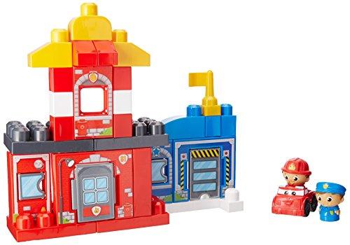Mattel Mega Bloks First Builders CNG25 - Rettungsstation Polizei und Feuerwehr, bunt