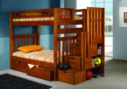 DONCO Bunk Bed Twin Over Twin Mission Style in Honey with Stairway and Drawers
