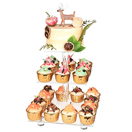 """YestBuy 3 Tier Cupcake Stand with Base, Cake Stand, Acrylic Cupcake Tower Stand, Premium Cupcake Holder for 28 Cupcakes, Display for Pastry Wedding Birthday Party (4.7"""" Between 2 Layers)"""
