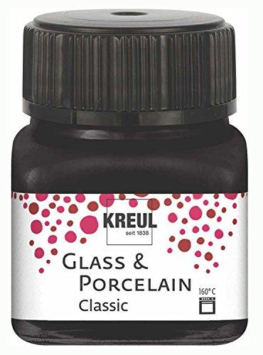 Kreul 16234 - Glass und Porcelain Classic, brillante Glas- und Porzellanmalfarbe auf Wasserbasis, schnelltrocknend, deckend, 20 ml im Glas, schwarz