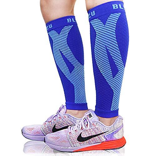 Un par de calcetines de compresión de pantorrilla Blitzu alivia el dolor de piernas y pantorrilla. Mangas para corredores hombres y mujeres para correr. Mejora la circulación y la recuperación, L/XL