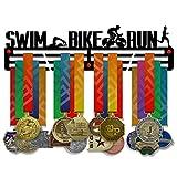 Victory - Espositore per medaglie da nuoto, 3 barre rivestite in acciaio da 3 mm, con supporto da parete, larghezza 45,7 cm, può contenere 60 medaglie o più