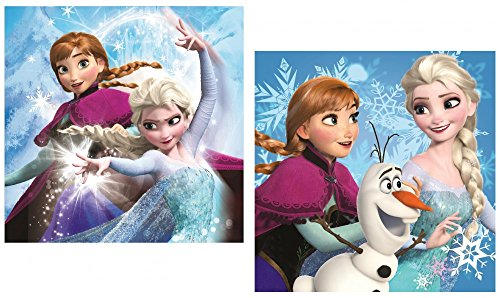 Federa Frozen copri cuscino quadrato 40×40 in poliestere doppia stampa Anna Olaf e Elsa.