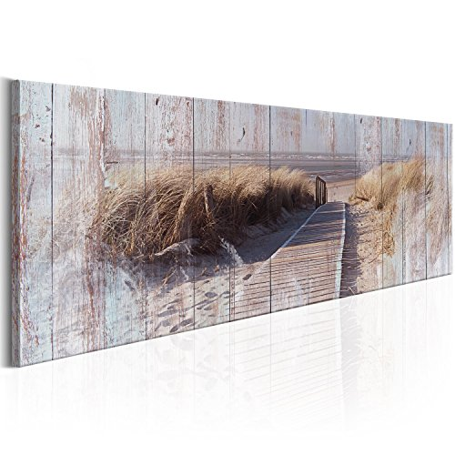 murando Cuadro en Lienzo 120x40 cm - Playa 1 Parte impresión en Material Tejido no Tejido Cuadro de Pared impresión artística fotografía Imagen gráfica decoración Paisaje Mar c-C-0048-b-c