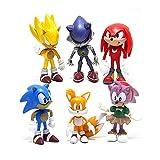 HYHSM Sonic FiguresToy 6Pcs / Set PVC Toy Sonic Shadow Tails Personajes Figura Juguetes para niños A...