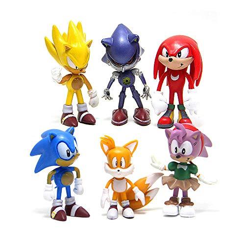 HYHSM Sonic Figures 6Pcs / Set PVC-Spielzeug Sonic Shadow Tails Charaktere Figur Spielzeug für Kinder Tiere Spielzeug Set Schlüsselbund-Spielzeug