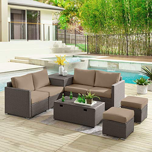 Tribesigns Sectional Sofa Couch Patio Furniture Set Outdoor Conversation Set 8 Pieces All-Weather Wicker Rattan Dining Table Chair with Ottoman, Comfortable Cushions, 2 Storage Tables (Brown+Brown)