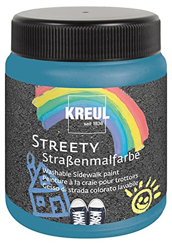 Kreul Streety 43105 - Pintura de calle azul pálido de baño 200 ml, tiza líquida lavable para pintar con pincel o rodillo, tiza líquida, vegana, dermatológicamente probada, lavable