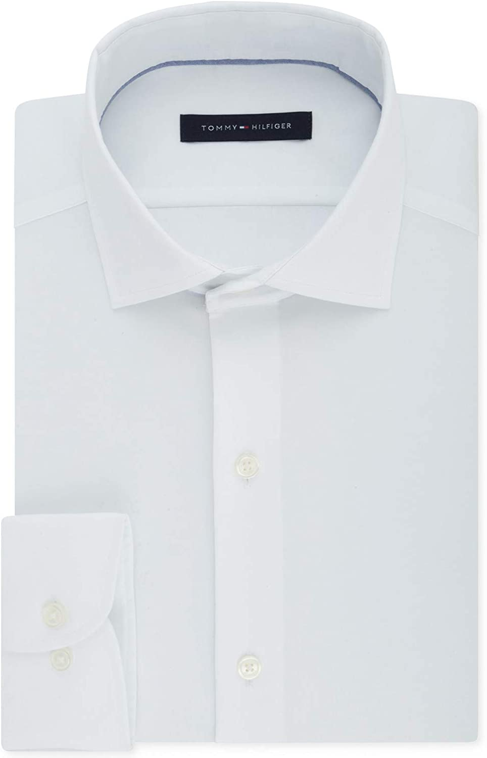 Tommy Hilfiger Mens White Collared Classic Fit Stretch Dress Shirt 15.5-32/33