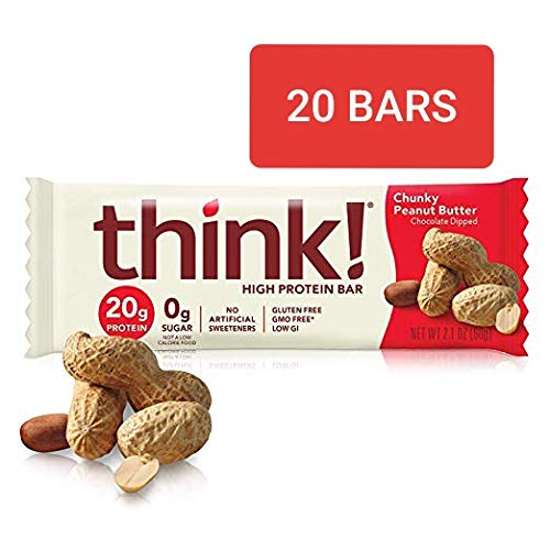 thinkThin High Protein Bars, Chunky Peanut Butter, 2.1 Ounce (20 Count)