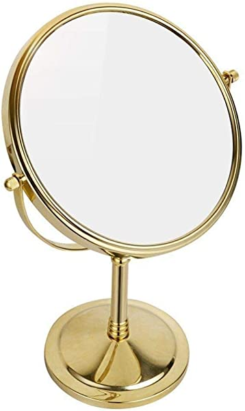 8 Inch Double Sided Standing Makeup Mirrors 10X 7X 5X 3X Magnification Regular Professional 360 Rotating Brass Vanity Mirror Color Gold Size 5X