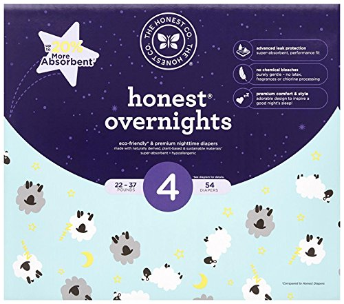 Product Image of the Honest Overnight Baby Diapers, Club Box, Sleepy Sheep, Size 4 (54 Count)