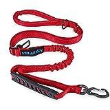 IOKHEIRA - Guinzaglio per cani, estensibile,resistente, ammortizzante, con due manici imbottiti e fibbia per cintura di sicurezza auto, guinzaglio regolabile per cani di taglia piccola, media e grande