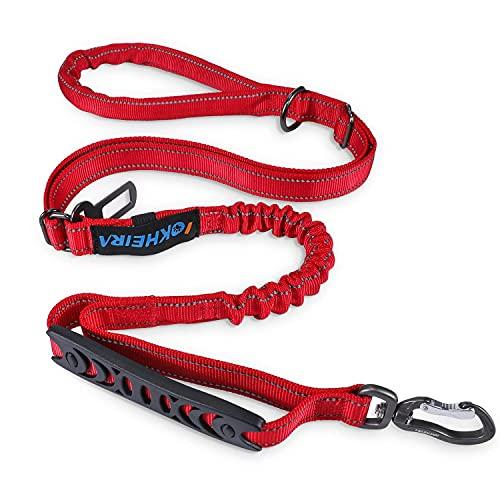 IOKHEIRA Correa para Perros de 5 pies, 4 en 1, Ajustable, con cinturón de Seguridad para el Coche y asa Acolchada, elástica y Reflectante (Rojo)