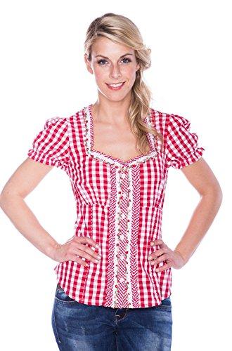 Krüger modna czerwona bluzka ludowa w kratkę Frieda MADL