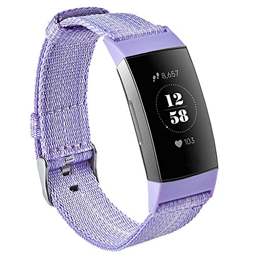BoosBlue Compatible with Fitbit Charge 3 Bands for Women Men, Soft Breathable Replacement Band for Fitbit Charge 3, Charge 3 SE (Purple, Large)