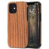 TENDLIN Kompatibel mit iPhone 12 Hülle/iPhone 12 Pro Hülle Holz & TPU Silikon Hybrid Handyhülle (Rotes Sandelholz)