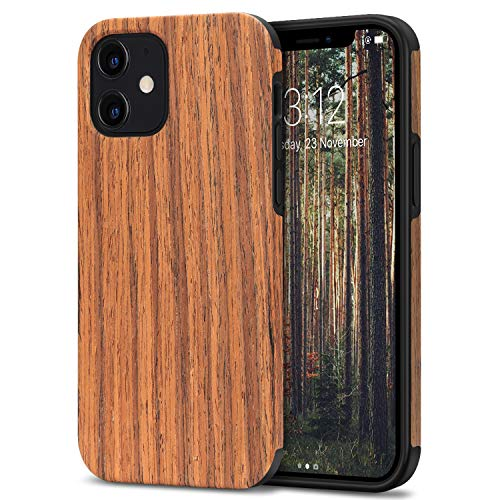 TENDLIN Kompatibel mit iPhone 12 Mini Hülle Holz & TPU Silikon Hybrid Handyhülle (Rotes Sandelholz)