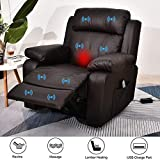 BINGTOO Power Recliner Chair with Heat and Massage, PU Leather Electric Recliner Sofa Chairs with USB Port for Elderly for Living Room (Brown-pu)