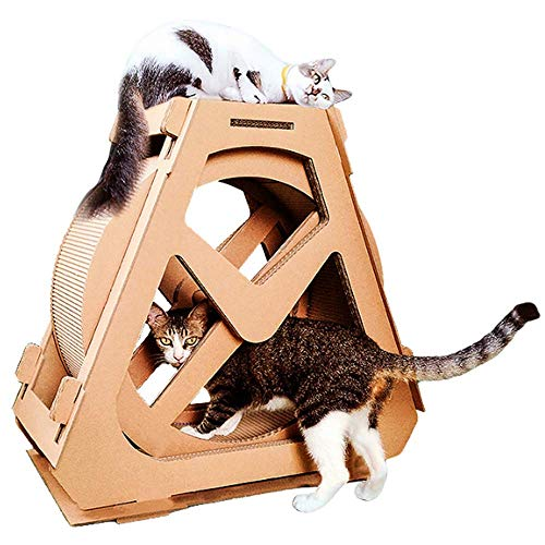 AYLS Cat Scratch Board Cat Übung Wheel Cat Tree Climbing House Running Spinning Toy for Cats Wheel Movement, Cat Indoor Activity Center,S
