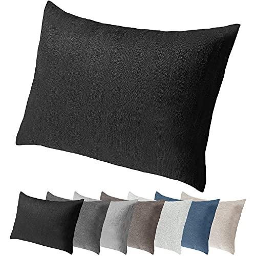 Selfitex Extra großes Sofakissen mit edlem Bezug und Füllung, Lounge- und Rückenkissen, Kopfkissen, Dekokissen, ideal beim Lesen, Schlafen, TV-Schauen (Schwarz, 60 x 80 cm)