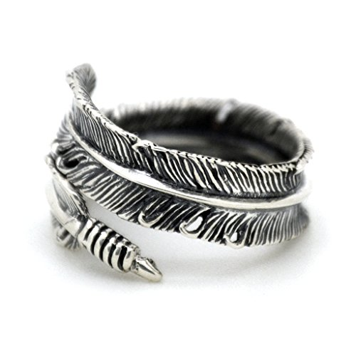 Serebra Jewelry Feder Ring 925 Sterling Silber Damen Indianerschmuck Größenverstellbar Antik