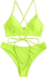 Acilnxm Women's Two-Piece Swimwear Solid Color Swimsuits Bandage Bra Beachwear Bikini Sets Bathing Suit