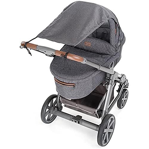 ADESUGATA - Parasol para cochecito – Funda de sol para cochecito de bebé, impermeable y cortavientos ajustable con protección UV 50+ para capazo, color gris claro