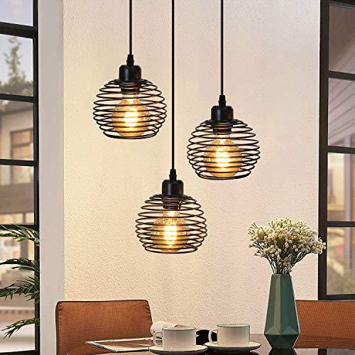 ZMH Lámpara colgante vintage negra con casquillo metálico E27 lámpara de mesa de comedor retro lámpara colgante regulable en altura 120cm, 3 x E27 máx. 25 vatios, sin bombilla