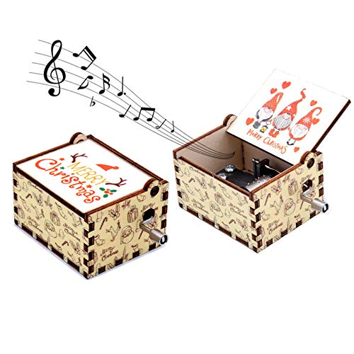 Keast Christmas Gnome Hand Crank Musical Box, The Santa Claus Wood Music Box Play MERRY CHRISTMAS, Mini Music Box for Boys Girls