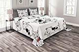 Lunarable Dog Lover Bedspread, Funny Drawing Cartoon Dogs Dotted Spotted Dachshund Expression Eating Happy Playing, Decorative Quilted 3 Piece Coverlet Set with 2 Pillow Shams, Queen Size, Black White