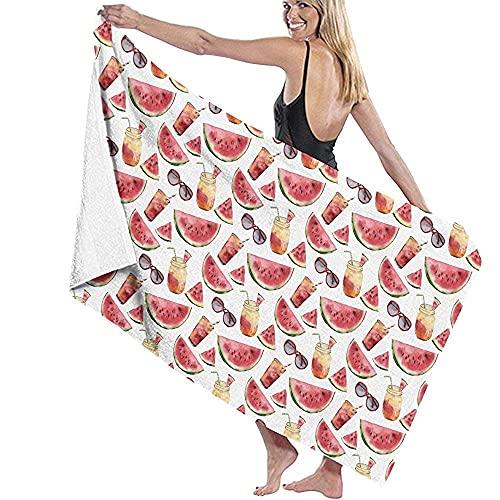 Lsjuee Toallas de baño WToallas de baño con diseño de melón, Gafas de Sol y cóctel Toallas de Playa Suaves Extra absorbentes Toalla de SPA de Hotel 80X130CM